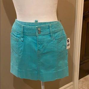 Turquoise denim skirt